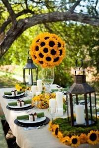 tall sunflower wedding centerpiece ideas