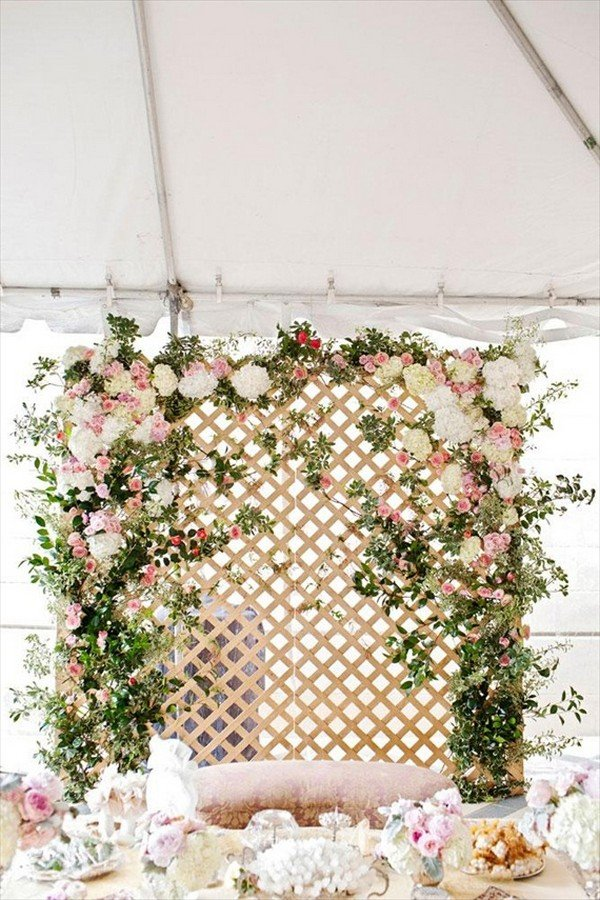 tented wedding backdrop ideas with floral