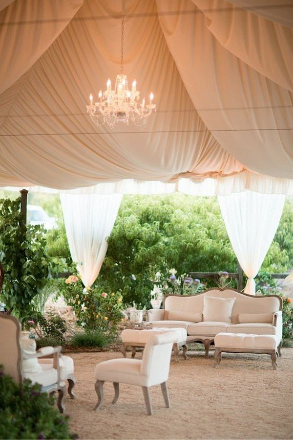 tented wedding lounge area decorations