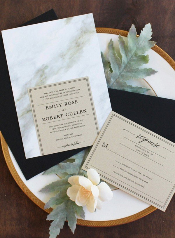 trending black and gold marble wedding invitations