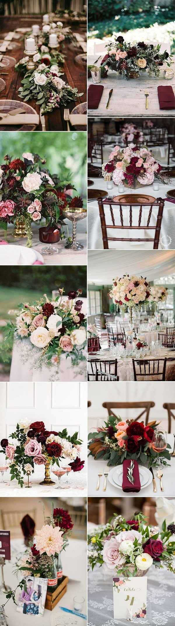 trending burgundy and blush wedding centerpiece ideas