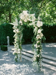 trending white and green floral wedding arch ideas