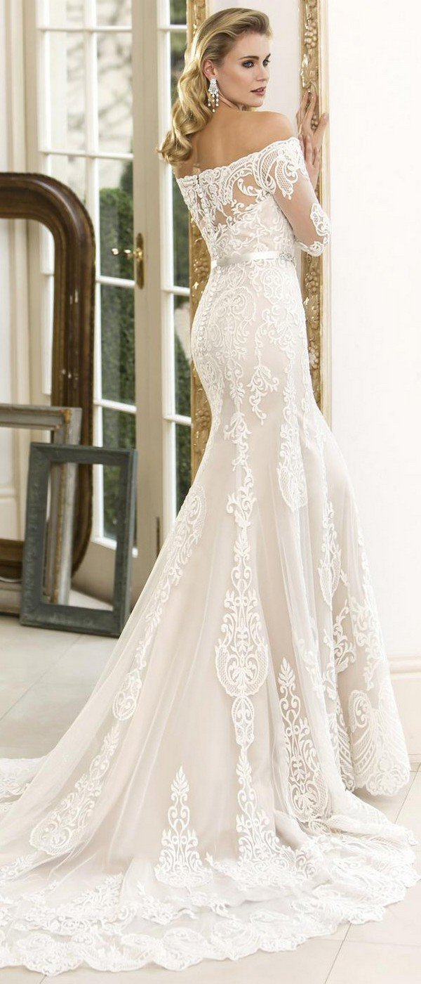 true bride lace wedding dress Bianca back view