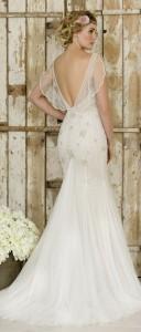 true bride vintage wedding dress with floaty sheer sleeves W243 BACK VIEW
