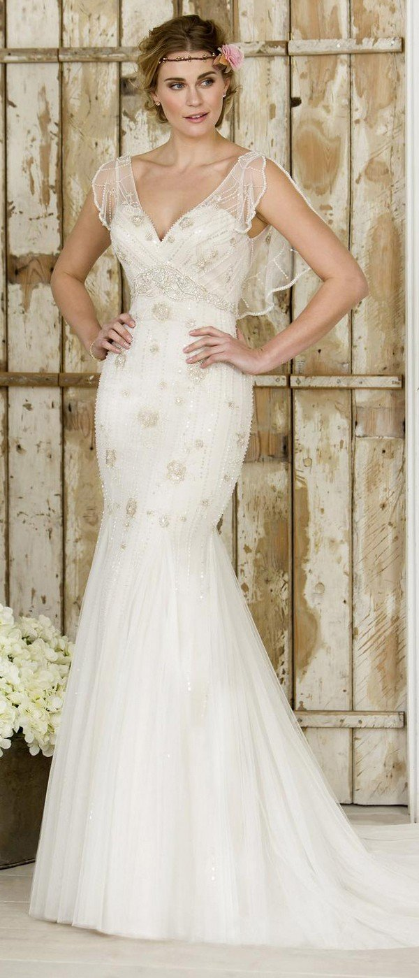 true bride vintage wedding dress with floaty sheer sleeves W243
