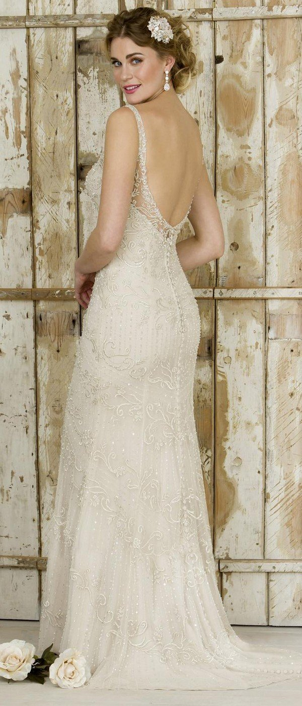 v neck true bride wedding dress W254 with low back