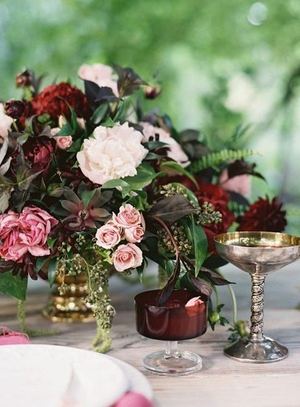 vintage blush and burgundy wedding centerpiece