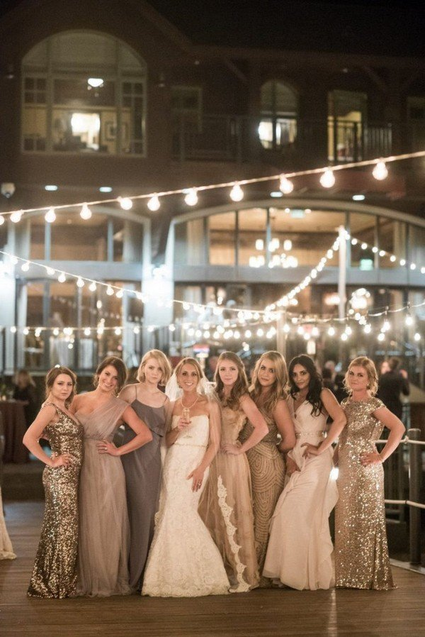 vintage glittering mismatched bridesmaid dresses