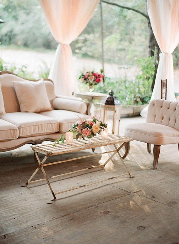 vintage inspired wedding lounge area