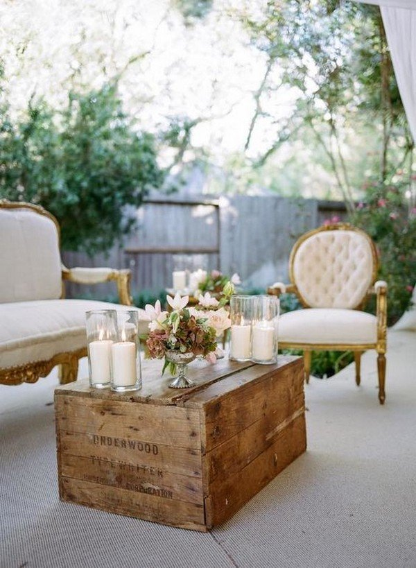 vintage lounge area decor ideas for backyard weddings