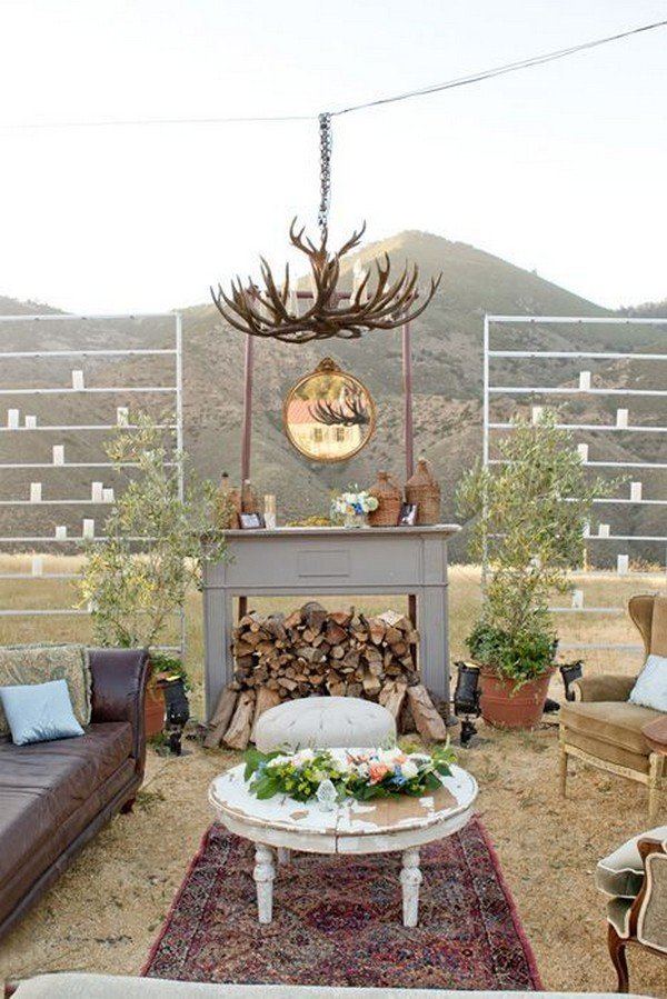 vintage outdoor wedding lounge area ideas