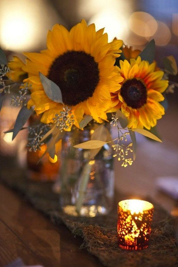 vintage sunflower wedding centerpiece ideas