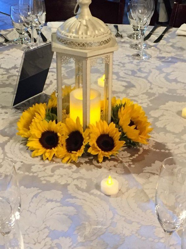 vintage sunflower wedding centerpiece with lantern