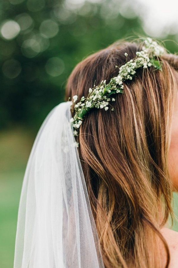 Top 10 Wedding Hairstyles With Flower Crown Veil For 2018 Oh Best