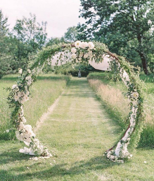 white and green floral wedding arch ideas