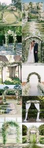 white and greenery floral wedding arch ideas