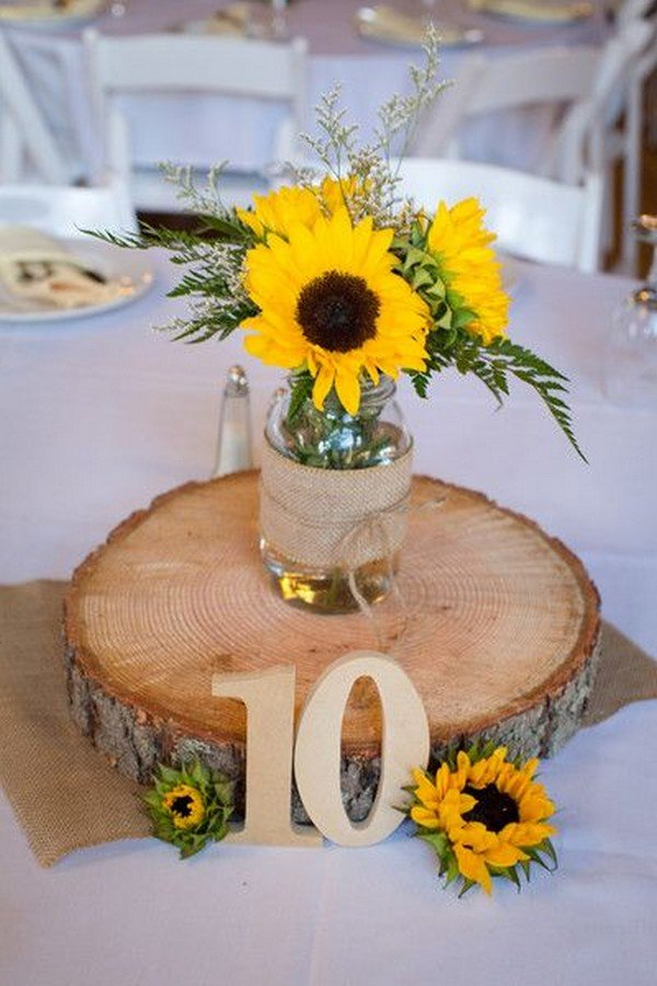 wooden rustic sunflower wedding centerpiece