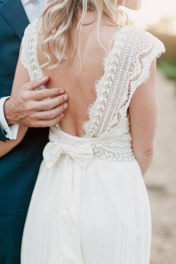Anna Campbell lace wedding dress with open back