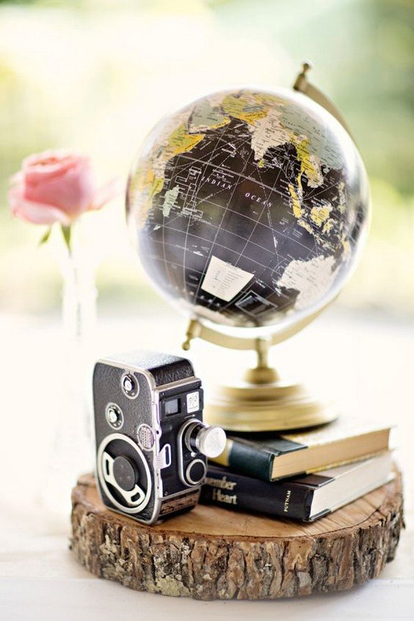 Vintage globe and camera wedding centerpiece ideas