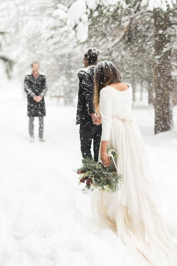 White Winter Mountain Elopement Wedding Ideas