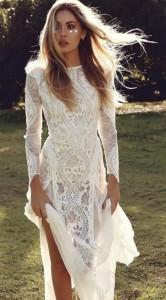 boho lace wedding dress with long sleeves
