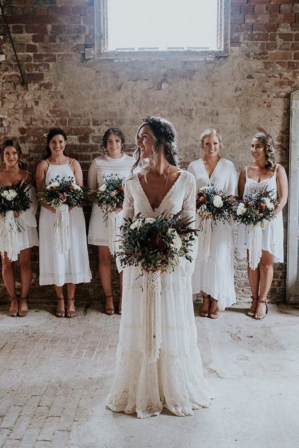 boho v neck wedding dress with long sleeves