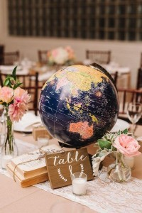 chic travel themed wedding centerpiece with globe