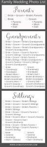 family wedding photo list