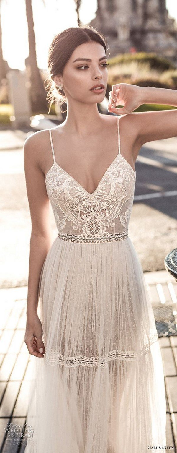 gali karten boho wedding dress with spaghetti strap