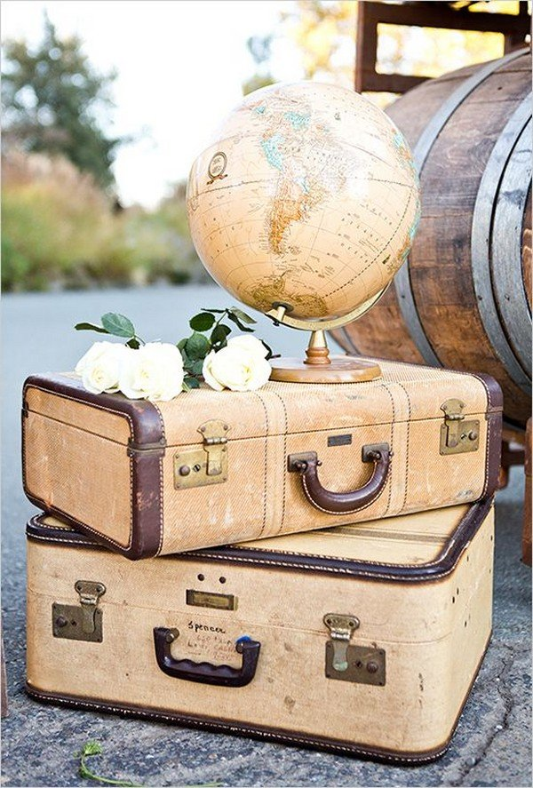 suitcases and globe vintage travel themed wedding decorations