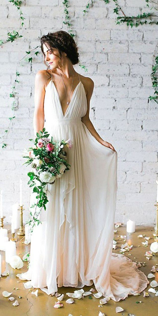 timeless deep v neck wedding dress