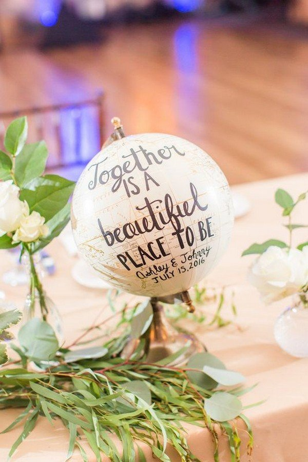 travel themed wedding centerpiece