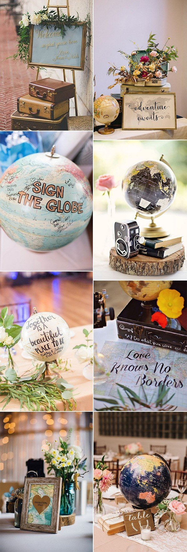 vintage travel themed wedding decoration ideas