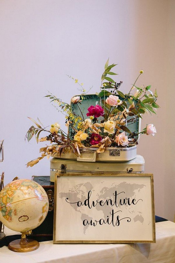 vintage travel themed wedding ideas