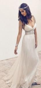 vintage v neck boho wedding dress