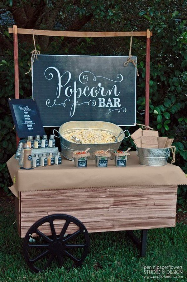 backyard themed wedding reception popcorn bar ideas