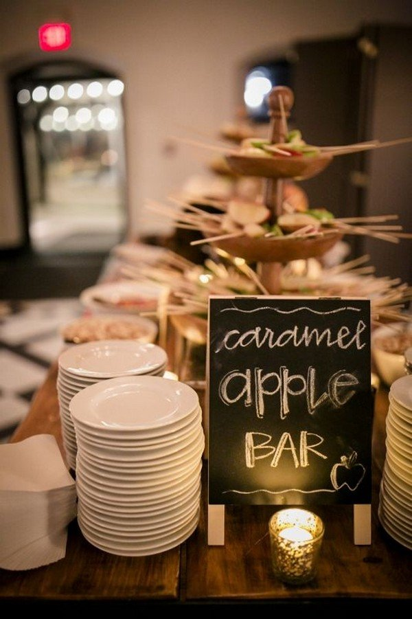 caramel apple bar for wedding reception ideas