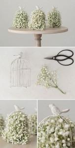 diy birdcage wedding decoration ideas with baby's breath
