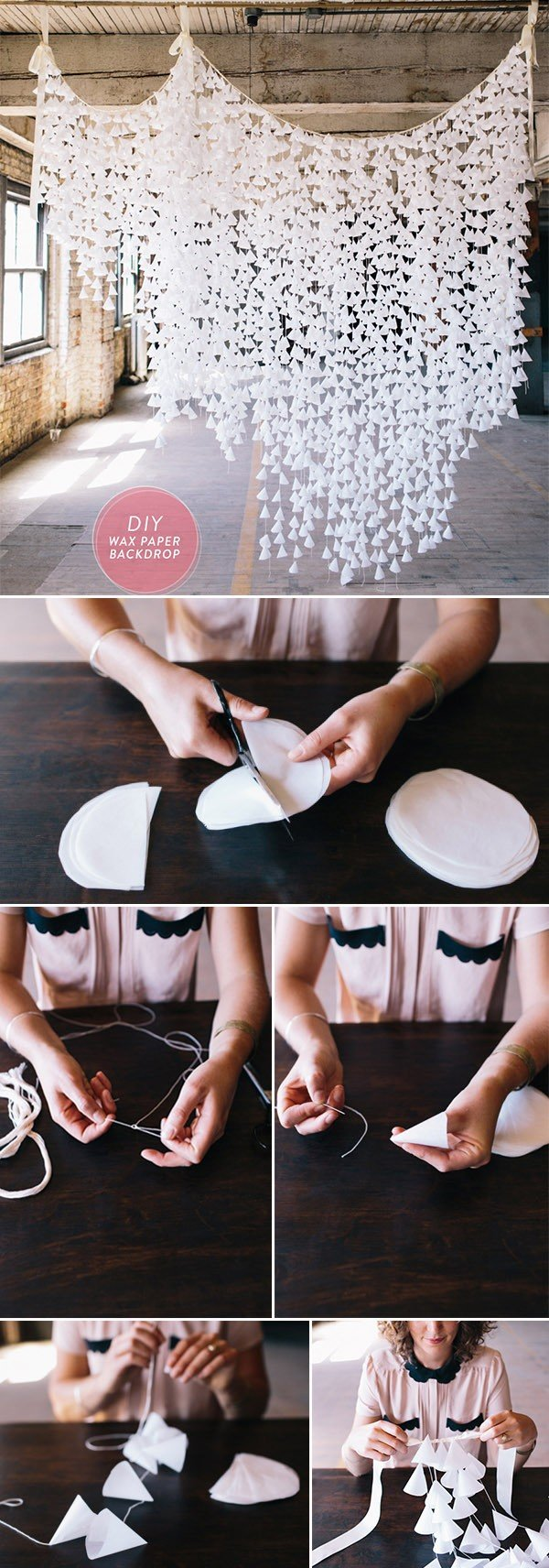 diy wax paper wedding backdrop ideas