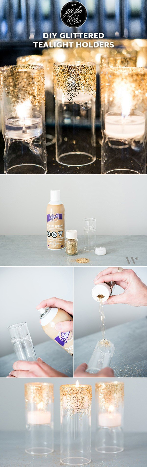 diy wedding decoration ideas glittered tealight holders
