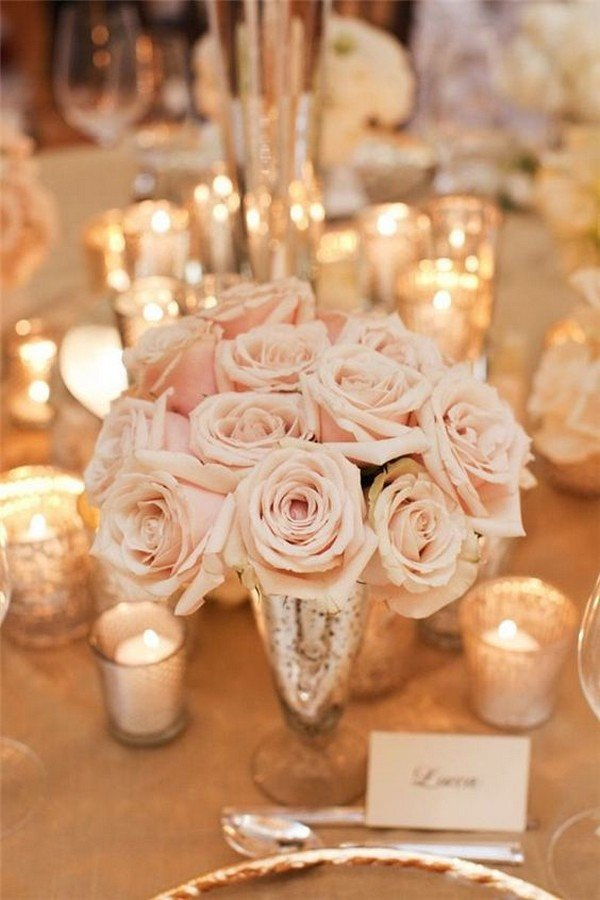 elegant and classic rose wedding centerpiece ideas