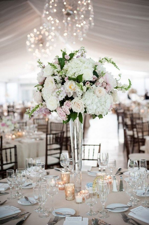 elegant floral tall wedding centerpiece ideas