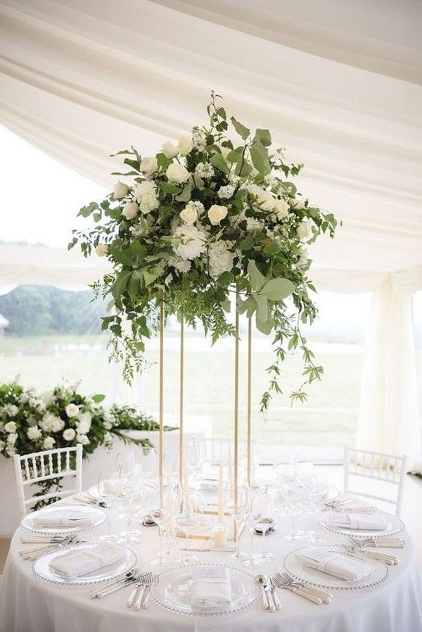 Eucalyptus And Olive Branch Elegant Tall Wedding Centerpiece