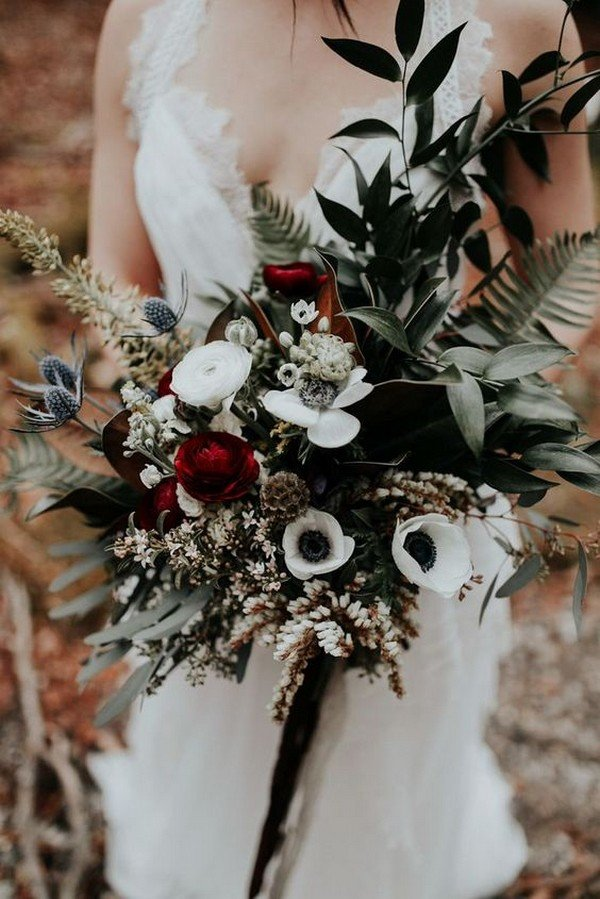 greenery and burgundy moody fall wedding bouquet