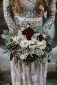 greenery and marsala moody wedding bouquet