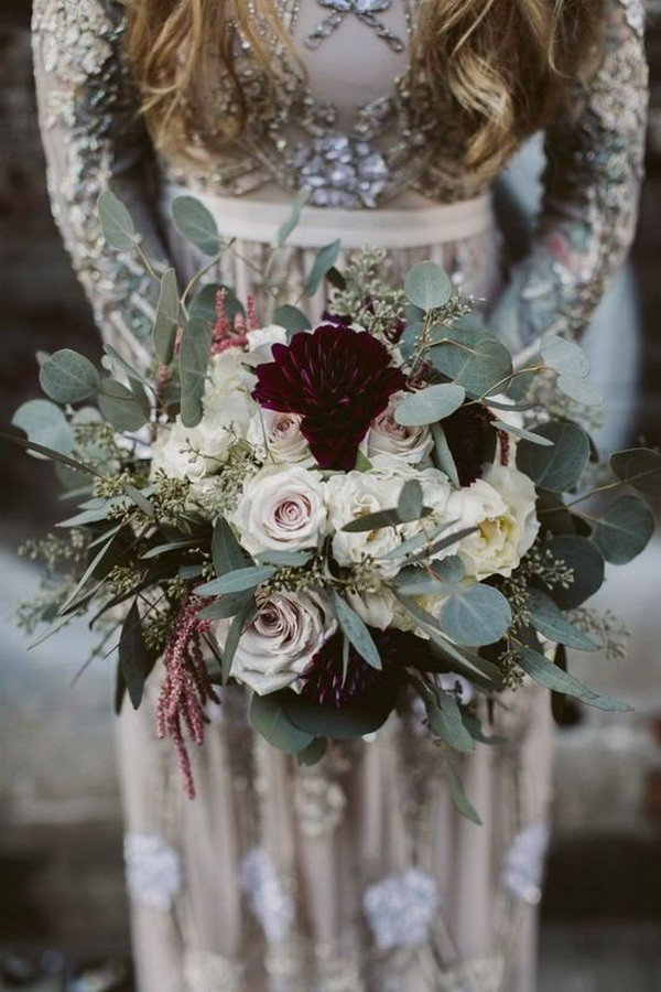 greenery and marsala moody wedding bouquet