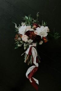 moody fall wedding bouquet ideas with burgundy