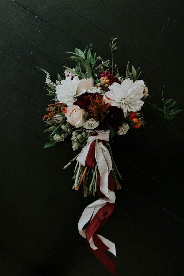 moody fall wedding bouquet ideas with burgundy