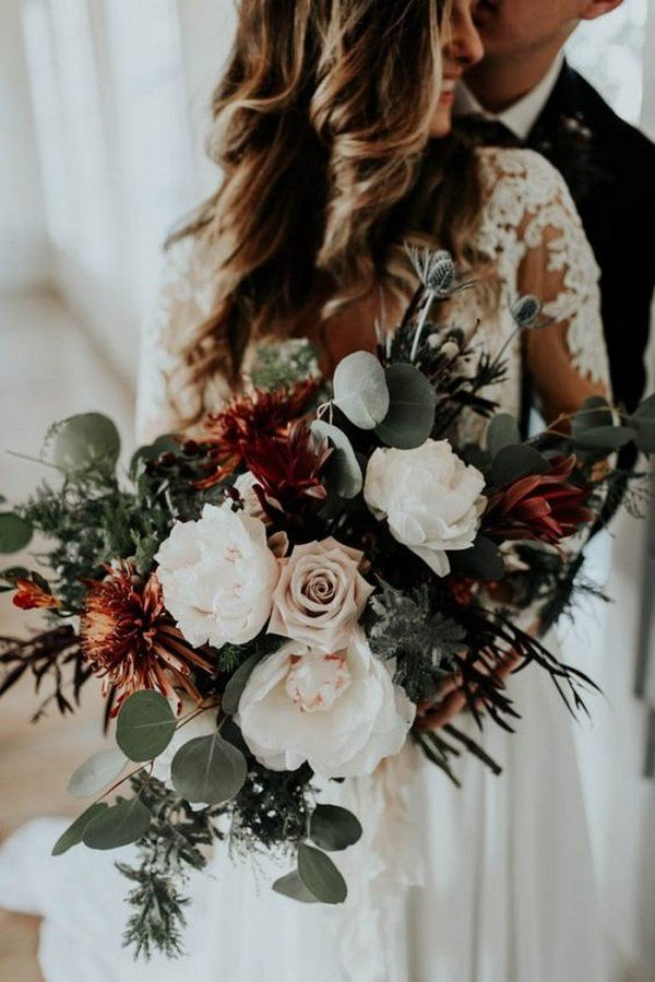 moody red copper and grey wedding bouquet ideas