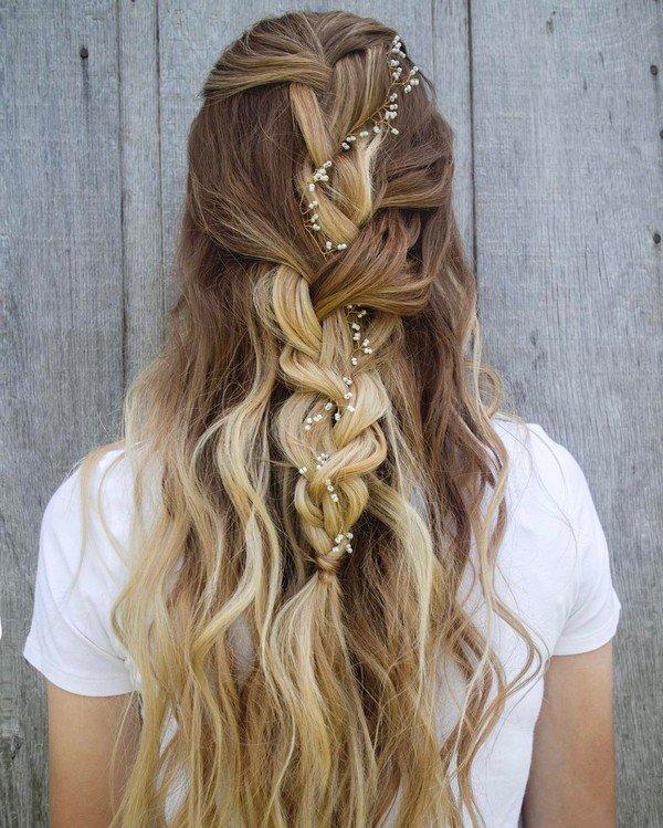 pretty half up half down wedding hairstyle